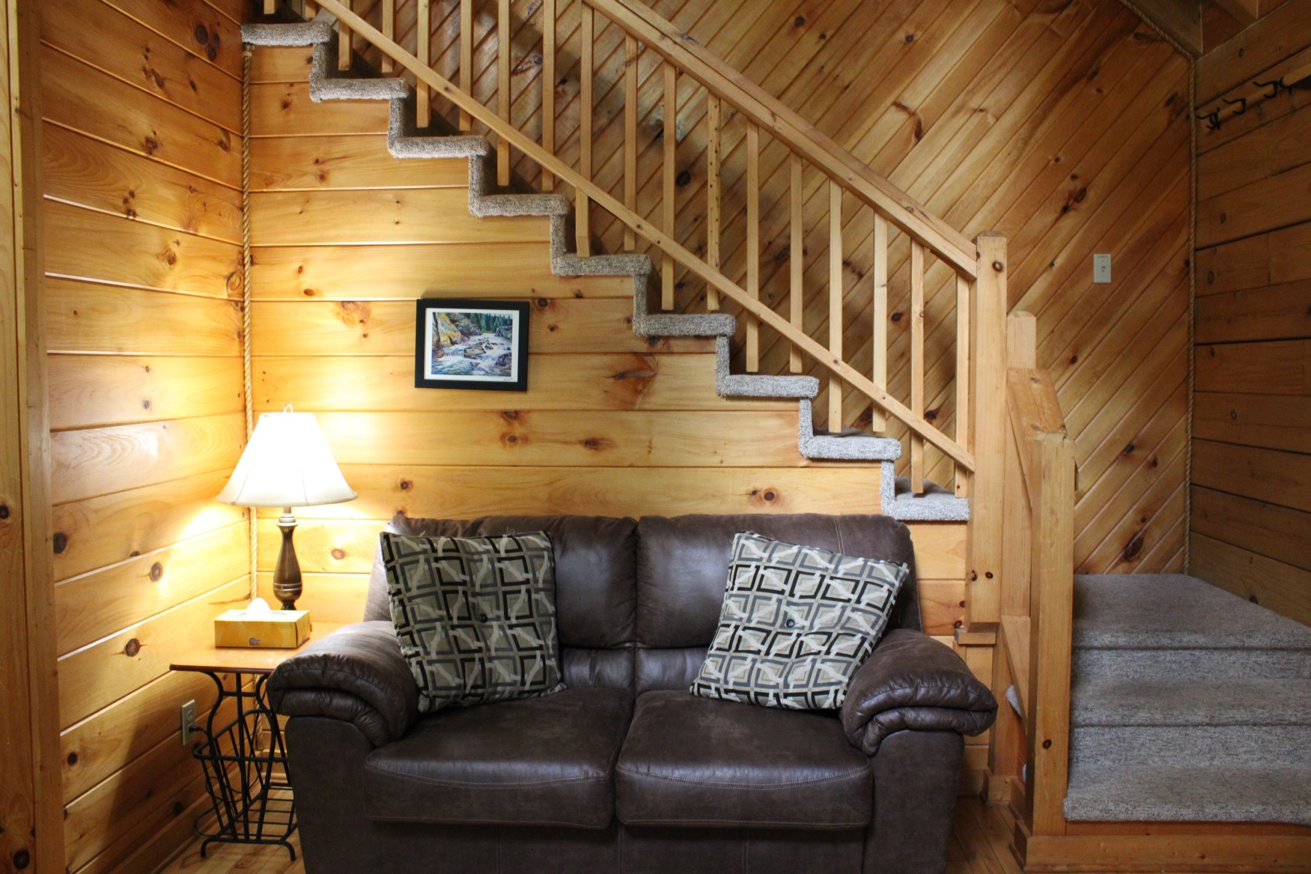 Iron Ring Cabin Living Room and Stairs