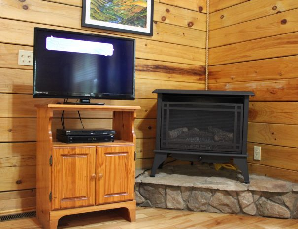 Iron Ring Cabin Living Room TV and Fireplace