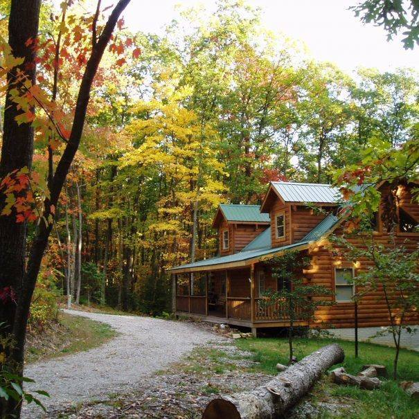 Pillow Rock Cabin Outside Fall Leaves