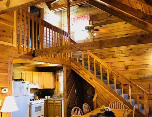 Wilderness Cabin Dining Room, Kitchen and Stairs