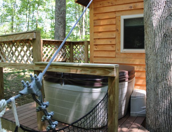 Tuscany Tree House Cabin Hot Tub on Deck