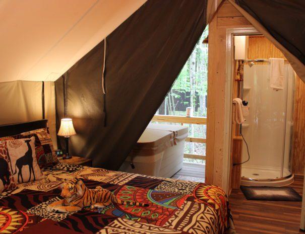 Inside view of Safari Sun hot tub and bathroom